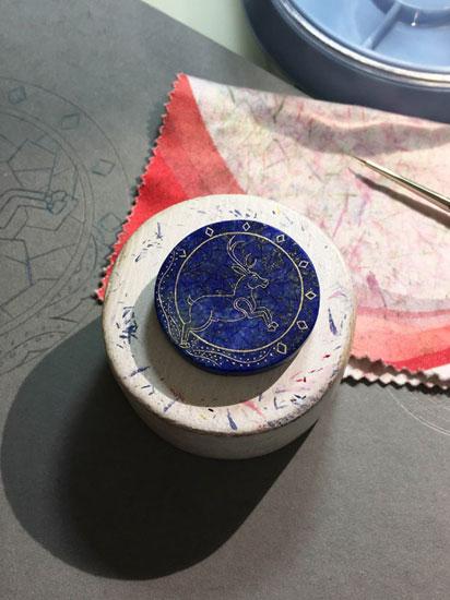 Peinture miniature - Pierre Lapis Lazuli